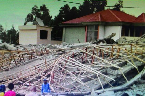 A five story building in Addis Ababa demolished