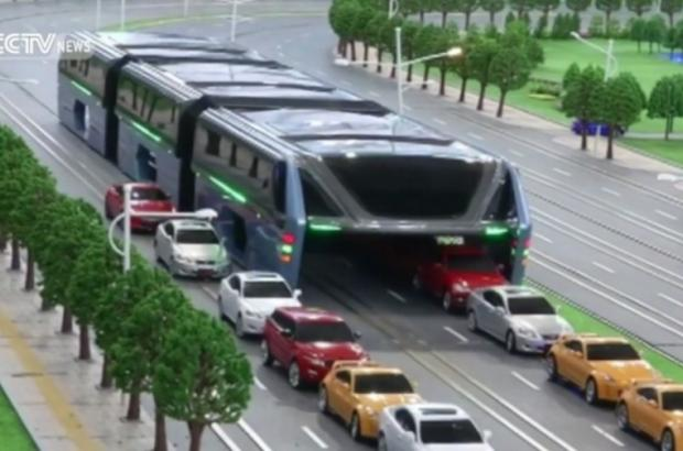 Elevated buses that drive over cars are in China's transportation fut...