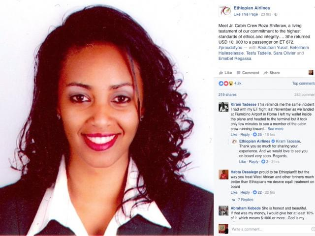 Honest Ethiopian Hostess Roza Shiferaw Returns U.S. $ 10,000 to Passenger