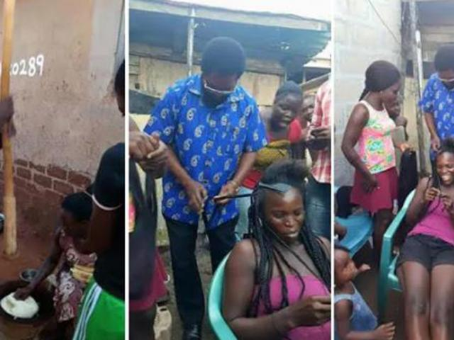 GHANA ELECTION: BRAIDING WOMEN'S HAIR, COOKING, PO...