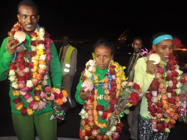 Ethiopia's Rio team arrives back home