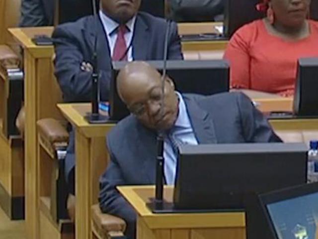 WATCH: Zuma falls asleep during Gordhan's mid-term b...