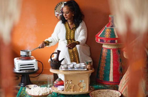 Ethiopia's Ancient Practice of Coffee Ceremony at Kezira Restaurant in Columbia City