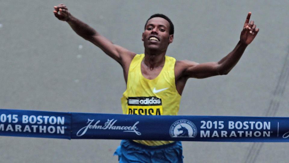 Ethiopian Lelisa Desisa Run on the Boston Marathon for his 3rd Victory
