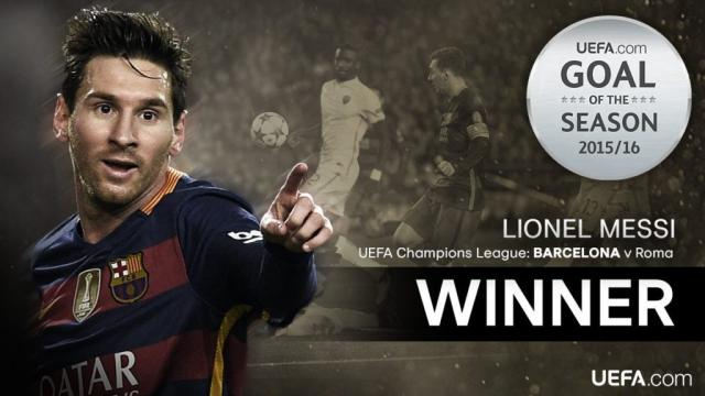Lionel Messi 2016 UEFA Goal of The Year vs Roma