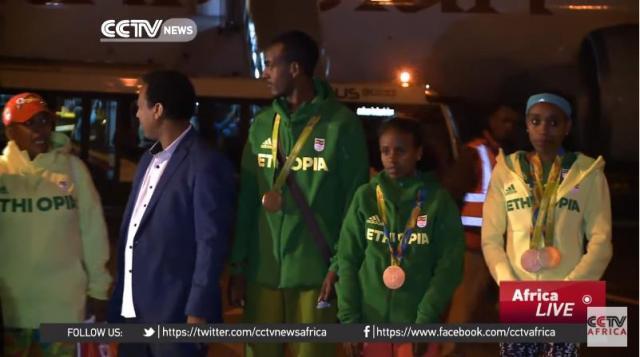 Record-breaker Almaz Ayana leads Ethiopia's Olympic team back home