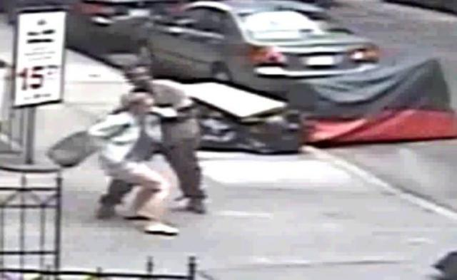 Man caught violently shoving bag of FECES down woman's shorts