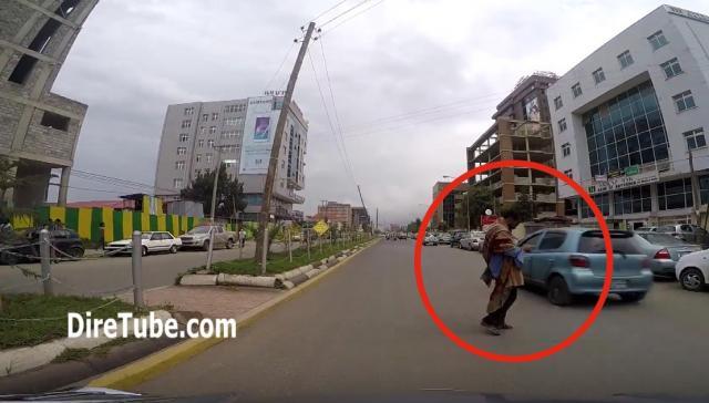 Near Miss Dash Cam Car Accident in Addis