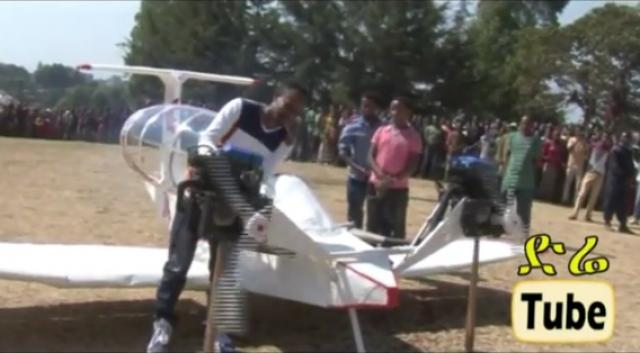 Young Ethiopian entrepreneur Fiseha Beyene speaks about his home made airplane