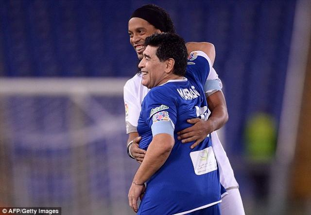 Diego Maradona steals the show at Match for Peace in Italy