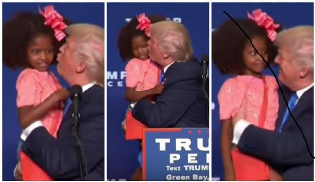 Donald Trump kiss and hug girl kids in Green Bay, WI 10/17/16