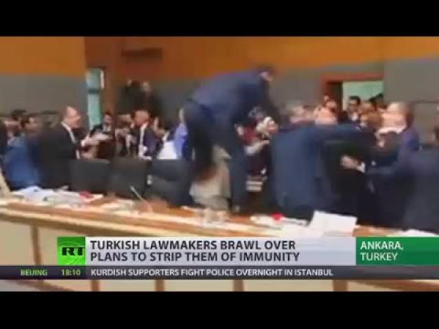 Fight in Turkey's Parliament