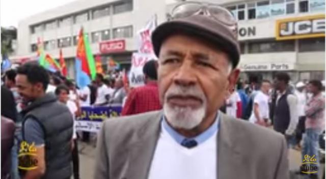 Eritrean demonstrator Ato Kahsay speaking against Eritrean Government