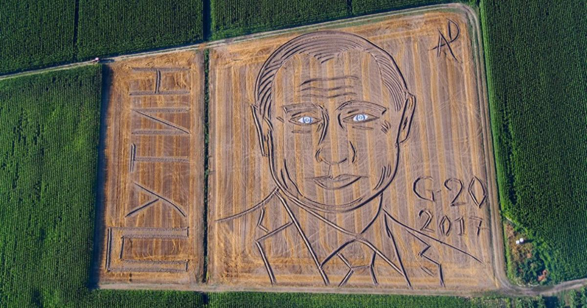 Italian 'land artist' creates crop circle image of Putin