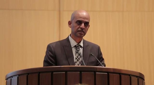 Ethiopia's Wondirad Mandefro speaking at UNIDO Investment Forum in Addis Ababa