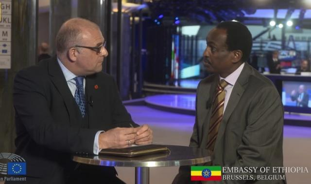 Ethiopian Ambassador Teshome Toga and MEP James Carver discuss Ethiopia-EU cooperation
