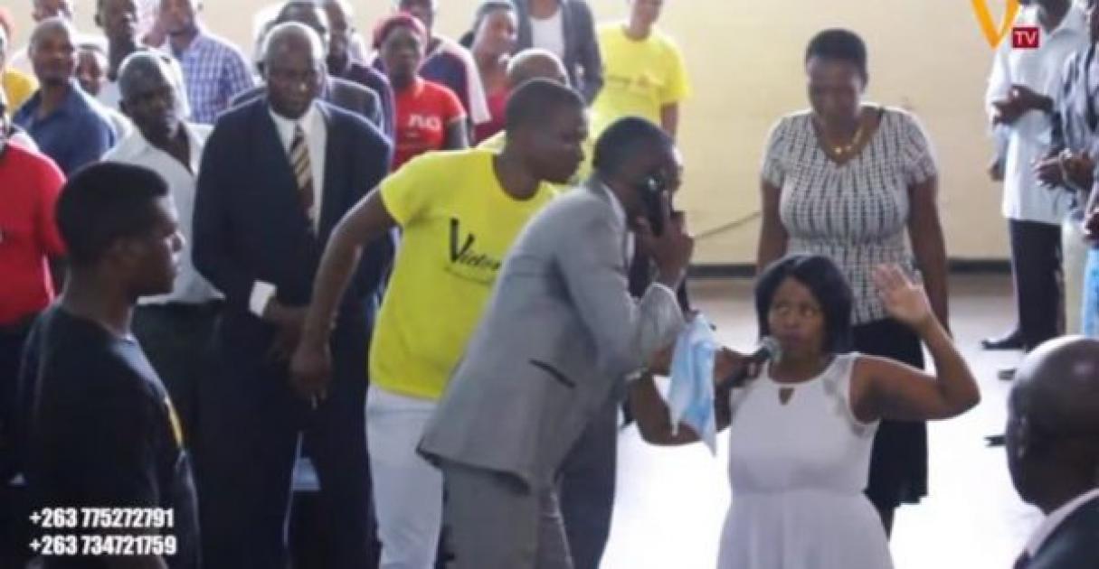 "Zimbabwean Pastor, Paul Sanyangore ""Calls God On Phone"" During Service"