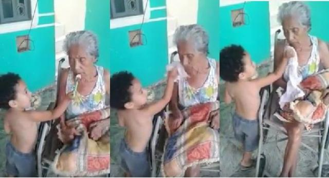 Little boy taking care of his disabled grandmother will touch your soul  Bless him!