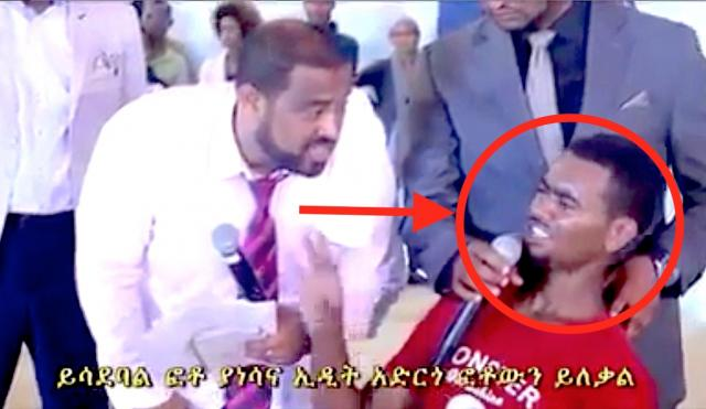 Ethiopia - Pastor Dawit During Service Fighting the Facebook Lucifer