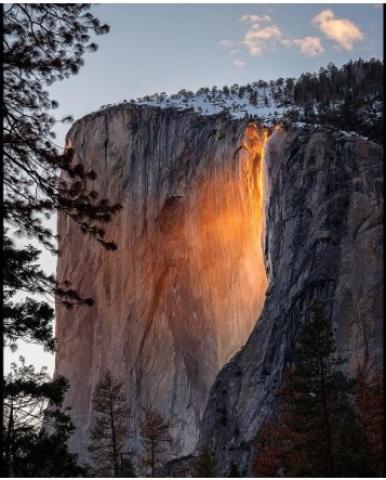 Yosemite 'Firefall' optical illusion lights up Yosemite National Park