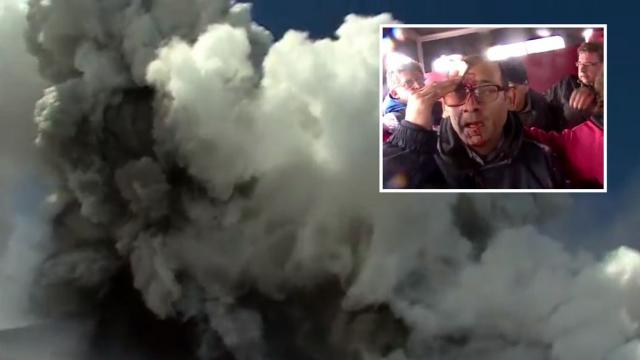 Terrifying Moment Boiling Rocks Fall From The Sky As Mount Etna Erupts