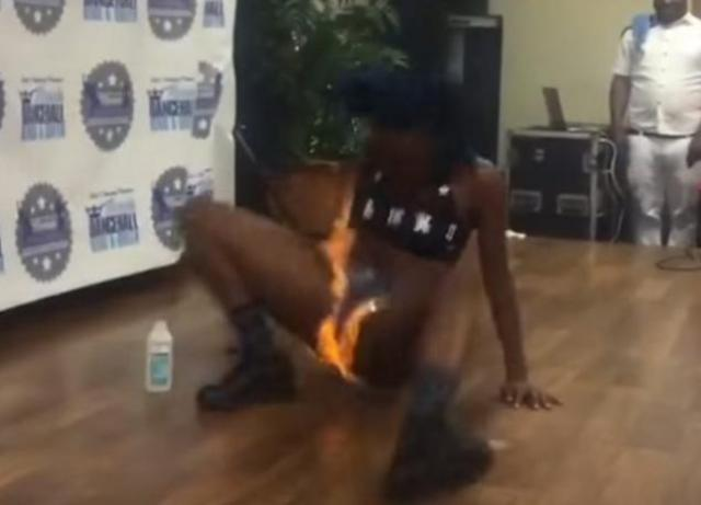 Must Watch:Girl sets her woman part on fire during dance competition