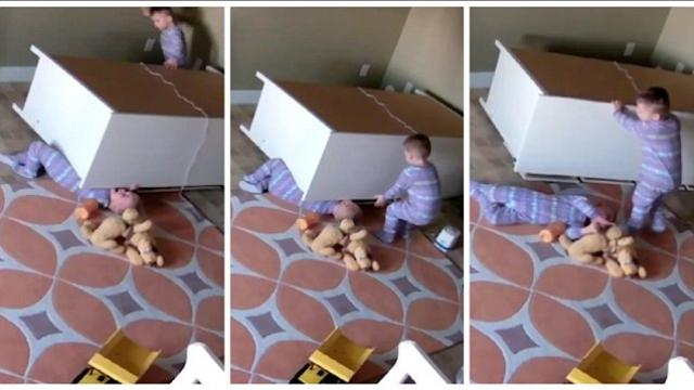Incredible moment 2 year old twin rescues stuck brother