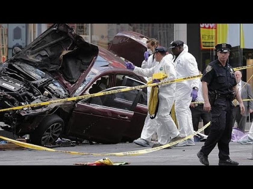 Car ploughs into pedestrians in New York's Time Square