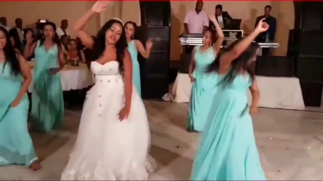 Bride And Bridesmaids Surprise Dance For The Groom