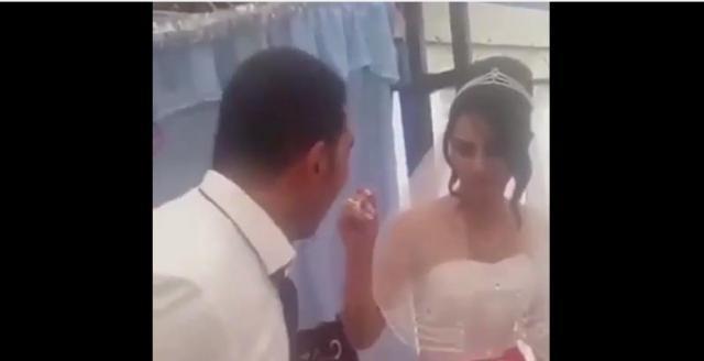 Angry Turkish Groom hits Bride on his wedding