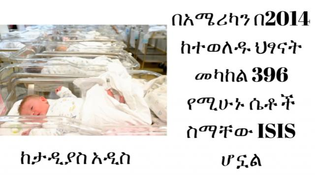 ETHIOPIA - Among New Borns in USA at 2014  396 Girls are Named After ISIS