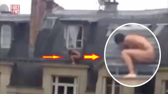 Naked lover spotted hiding on window-ledge 'after woman's partner arrives back home'
